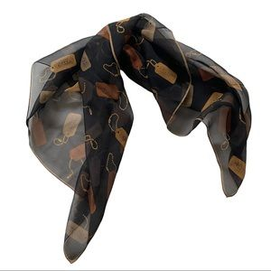 Coach Sheer Scarf with Logo Tag Print